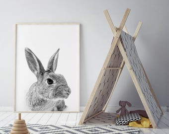 rabbit print, baby animal print, bunny, Woodlands Nursery Art, rabbit wall decor, black and white, printable , nursery woodlands bunny print