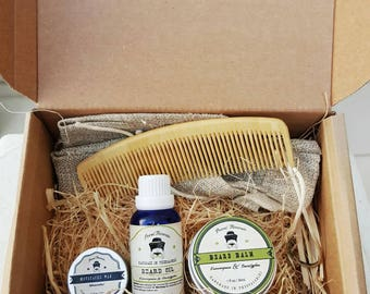 Beard Grooming Kit / Lemongrass and Eucalyptus /Upgraded shipment/ Overall Beard Care/ Organic/ Greek/gift set/mens' care
