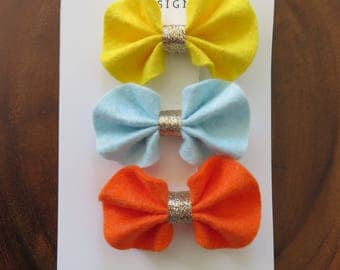 Yellow, Blue, and Orange Ruffle Felt Bow Hair Clip Set