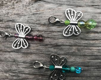 Beaded Zipper Pull, Zipper Pull Charm, Zipper Charm, Zipper Pulls for Purses, Butterfly Gift, Beaded Gifts, Butterfly Zipper Charm, Gift