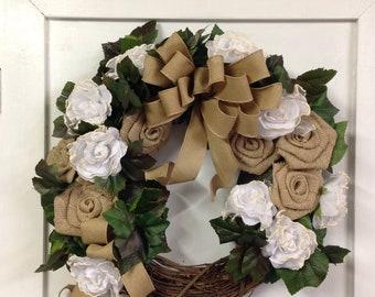 Farmhouse wreath Rustic elegance burlap rose white rose for door, front door decor All season everyday door or wall wreath Mothers Day