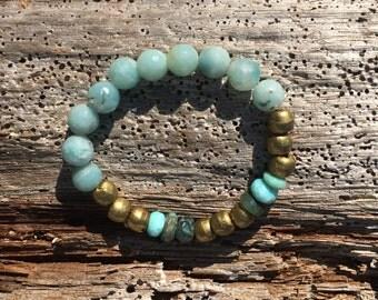 Beautiful blue amazonite, Peruvian mystic opal and Ethiopian metal beaded bracelet