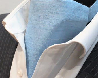 Cravat Ascot.100% Silk Front. UK Made.Blue Dupion Silk + matching hanky.