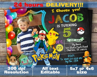 Pokemon Invitation, Pokemon Birthday, Pokemon Party, Pokemon Card, Pokemon, Pokemon Invites, Ash, Pikachu