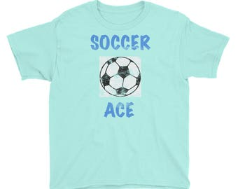 Soccer Ace Distressed All Cotton Tee Shirt Youth Short Sleeve T-Shirt