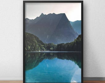 Mountain Lake Print, Water Home Decor, Austrian Alps Poster, Alpine Lake Printable, Nature Landscape, Forest, Blue, Mountains, Wall Art
