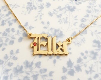 Ella Necklace Personalized Necklace 14k Gold Pendant Necklace With Birthstone Ruby Necklace July Birthstone Cancer Zodiac Necklace