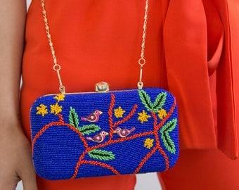 Beaded Clutch Bag, Evening Clutch, Evening Handbag, Stylish Clutch, Glamorous Unique Handbag, Bird Watcher Gift, Cross Body Bag, Blue Bag