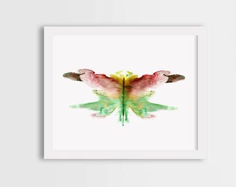 Brown butterfly wall art, room decor, watercolor butterfly print, butterfly illustration