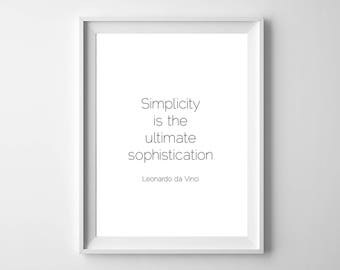 Leonardo Da Vinci - Inspirational Art- Motivational Art - Simplicity - Quote - Printable - Instant Download