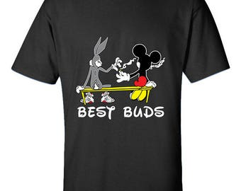 Best Buds Friendship Relations Bunny and Mouse Weed Marijuana 420 Friendly Men Size Unisex Cotton T-Shirts for Men and Women