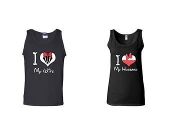 Valentine Gifts I Love My Wife Husband Mickey Mouse Disney COUPLE Printed Adult Tank Tops Unisex Tops for Men Women Matching Clothes