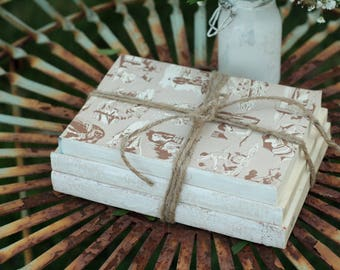 Unbound Book Centerpiece, Stack of 3 Vintage Unbound Books Painted White Wrapped in Twine, Rustic Wedding Centerpiece, White Book Stack