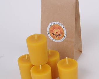 100% Pure Yellow Beeswax 2 inch tall Votive Candle with primed wick. Burn time 10-15 hours. Sold single. Natural honey smell.