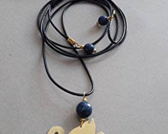 Swan Handmade earrings and necklace with pendant swan made of brass, semiprecious stone lazi lazuli