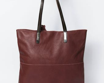 Large LEATHER TOTE // Burgundy // Everyday Leather Bag, Shoulder Bag, Leather BAG, Soft Leather Bag