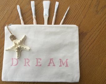 "Bag Hand Painted Cotton Lined Muslin Taffeta Rose or Aqua Pearl ""Dream"" Bag with a Real Star Fish Zipper Pull"