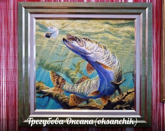 """Embroidered painting """"Pike"""""""