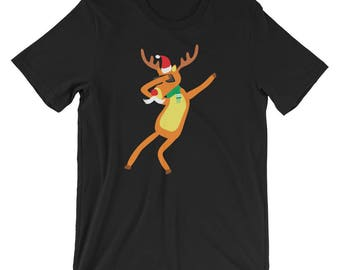 Dabbing Reindeer Shirt Funny Reindeer Christmas Dab UNISEX T-Shirt Christmas Gift