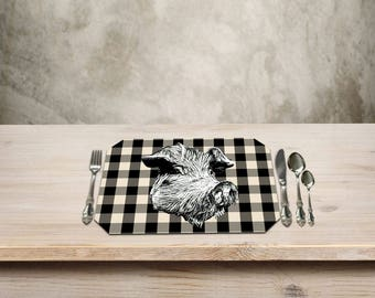 Cochon, Pig Placemat,Rustic Table Place mat,Pig Kitchen Decor, Country Checker Pattern, Add a Fun Farmhouse Touch to your Kitchen Table.