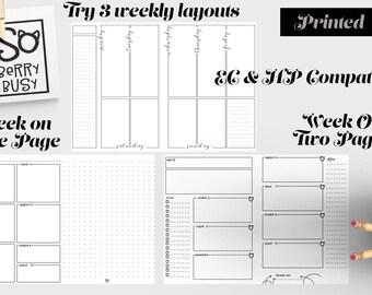 Printed Cahier Insert, 5x8.25, Multi Week Format.