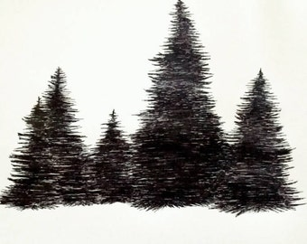 Handdrawn poster, Trees