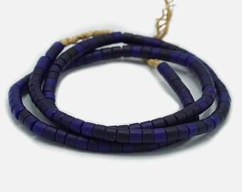 120 Vintage Matte Midnight Blue Kenya Turkana and Maasai Beads (5mm) - African Trade Beads - Old Tribal Glass Beads (32-KEN-WH)