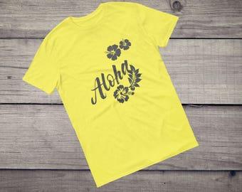 Aloha T-Shirt surfing surfboard hawaiian hibiscus flower tiki Hawaii beaches Short-Sleeve Unisex T-Shirt tshirt tee