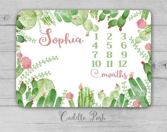 CACTUS Milestone Blanket, Baby Girl Newborn- CACTUS  Photography Backdrop, Month Growth Chart Quilt, Personalized CACTUS Girl Shower Gift
