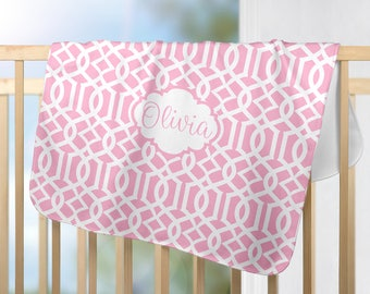 Pink Monogram Blanket, Trellis Personalized Blanket-Baby Girl Name Blanket, Baby Girl Shower Gift, Swaddle Blanket Pillow Set-Baby Pillow