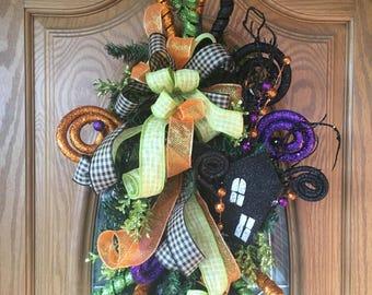 Halloween Door Swag, Halloween Wreath, Halloween Front Door Decor, Halloween Front Door Wreath