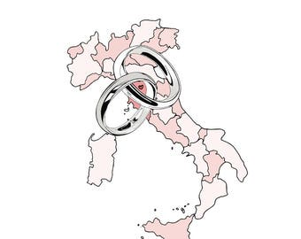 Wedding Map Custom Personalised Illustration