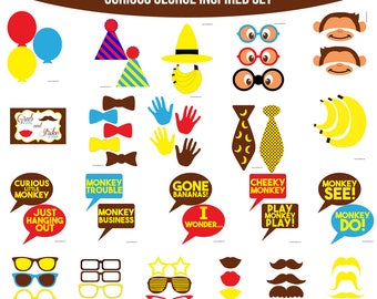 Instant Download Curious George Inspired Printable Photo Booth Prop Set