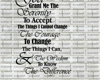 Serenity Prayer, Religious SVG, Silhouette File, Cut File, SVG, Gift, Church, Design, Digital, DIY, Print, Cricut Design Space, Vector