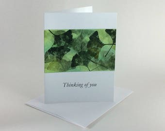 "Ginkgo tapestry ""Thinking of you"" card, individually handmade: note card, fine cards, SKU TIA21003"