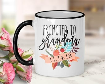 Promoted to Grandma Banner Mug // Grandma Gift // Pregnancy Announcement