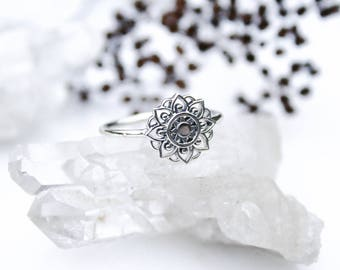 Sterling Silver Mandala Flower Ring, Sunflower Ring, Flower Ring, Mandala Ring, Silver Mandala Jewelry, Cute Ring, Gypsy Ring, Dainty Ring