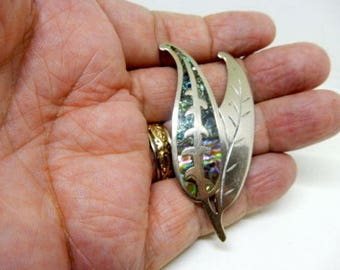 OBO - Taxco Mexico Vintage Sterling Silver Abalone Shell Leaf Pin Brooch