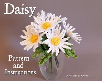 Crochet Daisy Flower Pattern Plant Garden  Decoration Home  Handmade White  Vase