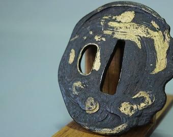 "Japanese Samurai Tsuba ""Guard"" Gold Hitsu Ume and Kobushi Gata Form Muromachi - Early Edo Period"