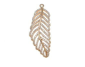 Feather Charms, Feather Pendant, Feather Charm, Rose Gold Feather Pendant, CZ Feather Pendant, Pave Feather Charms, F