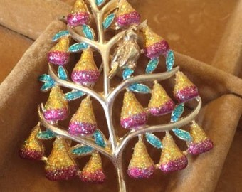 Vintage Christmas Brooch - Christopher Radko Partridge in a Pear Tree