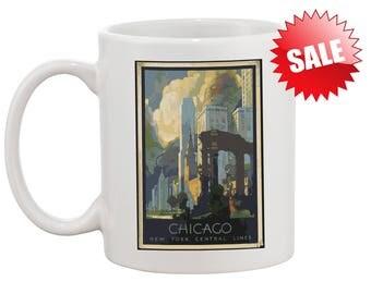 Vintage Gift Chicago Coffee Mug Custom Chicago Mug for Gift Birthday Anniversary Holiday Personalized Chicago Mug Coffee Mug Gift Illinois