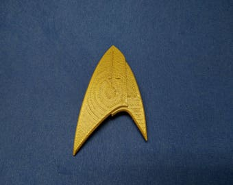Star Trek Discovery Command Badge with Choice of Rank, 3D Printed