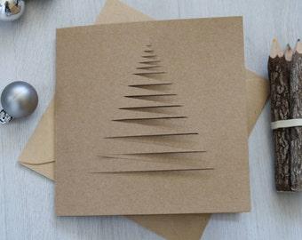 Handmade Christmas Card, Christmas Tree, Xmas Card, Festive Card, Seasonal Card, Abstract Tree