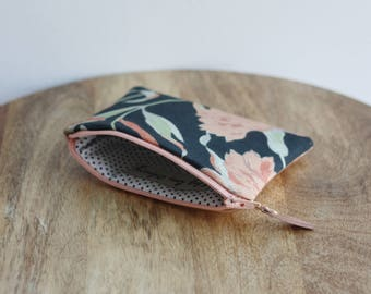 Rose gold and black coin purse - Gold leather purse - Black floral & pink fabric - Birthday gift for her -Small leather purse - Floral purse