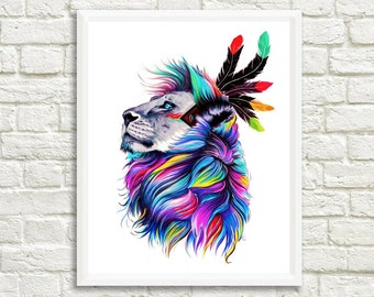 Boho Lion Large Print Digital Wall Art Downloadable Lion Print Colorful Feather Art Lion Painting Wildlife Printable Spirit Animal Prints