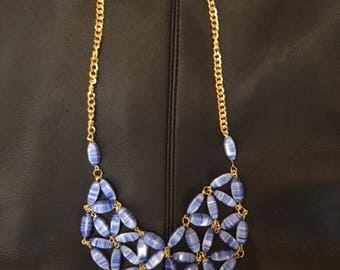 Gold Chain with Blue Glass Beads