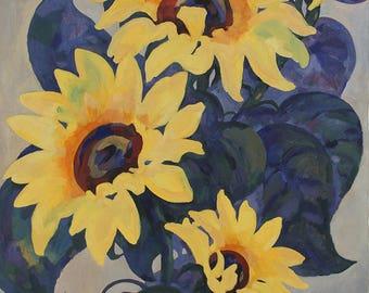 Beautiful Sunflowers, Original Oil Painting