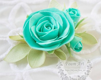 Bridal Hair Comb Tiffany Wedding Free Shipping Something Blue Wedding Flower Hair Comb Hair Accessories Prom Hair Comb Rose